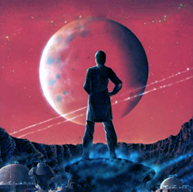 person looking at a planet, image from book cover of The Dispossessed